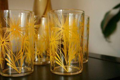 Vintage juice-glass sized Swanky Swigs glasses with yellow cornflower
