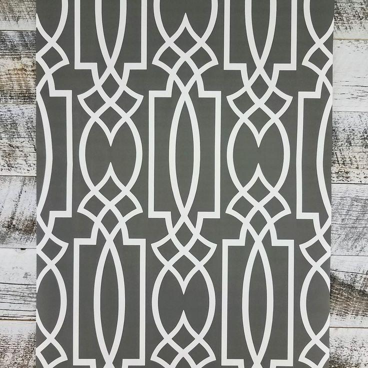 York Charcoal Gray Lattice Geometric Trellis Wallpaper