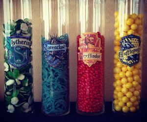 Harry Potter candy bowls that look like the Hogwarts House Points