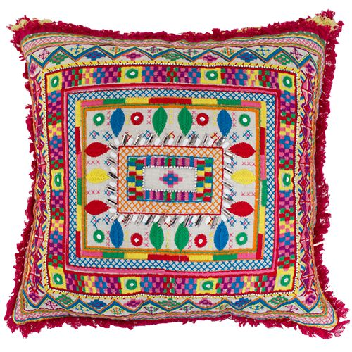 Boho Hand Embroidered Cushion, is such a lovely added piece to your home décor, with the added fringe in cerise around the edging is definitely perfect, bright colours, lemon, pink, navy, red,bias binding across, is a must on trend item in your indoor or outdoor areas! Measurements; 45x45x10 cm $42.25