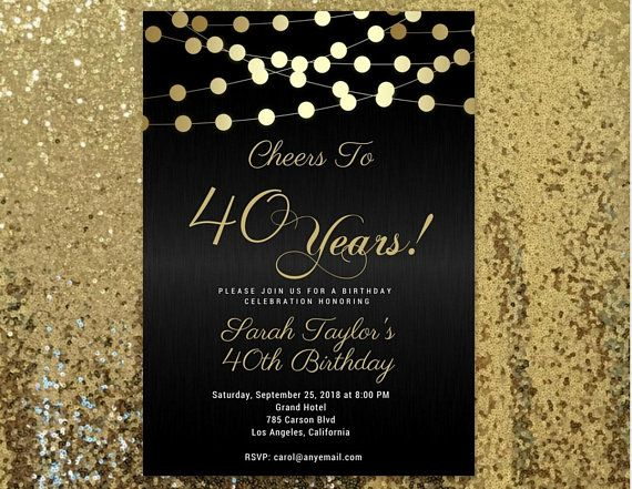Cheers To 40 Years Invitation Any Age 40th Birthday Invitations Black And G 70th Birthday Invitations 60th Birthday Invitations Birthday Invitation Templates