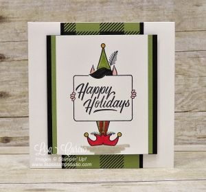 This little elf is holding a sign perfect for this pop up gift card holder. Uses Festive Phrases stamps by Stampin' Up!.