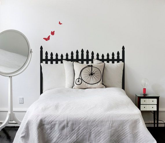 Picket Fence Headboard  Wall Decal by graphicalinteriors on Etsy, $43.00