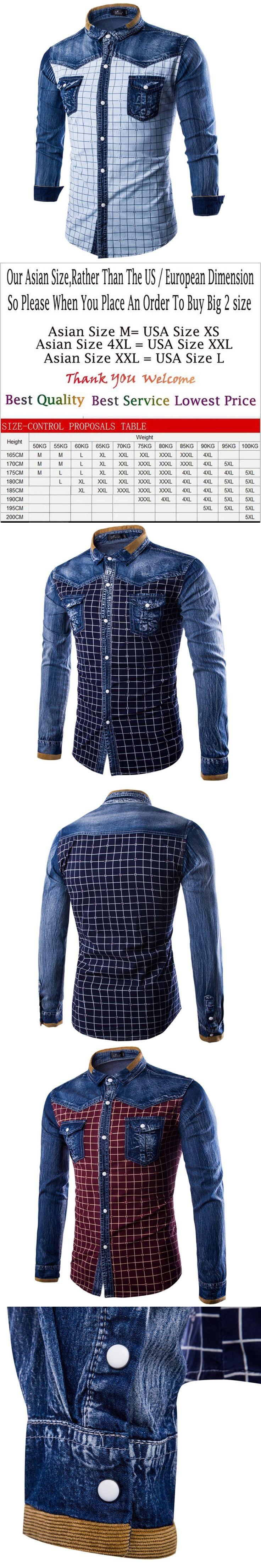 2017 Fashion Men Denim Shirts Long Sleeve Camisa Masculina Denim Blue Plaid Shirt Casual Retro Washed Blouses Chemise Homme
