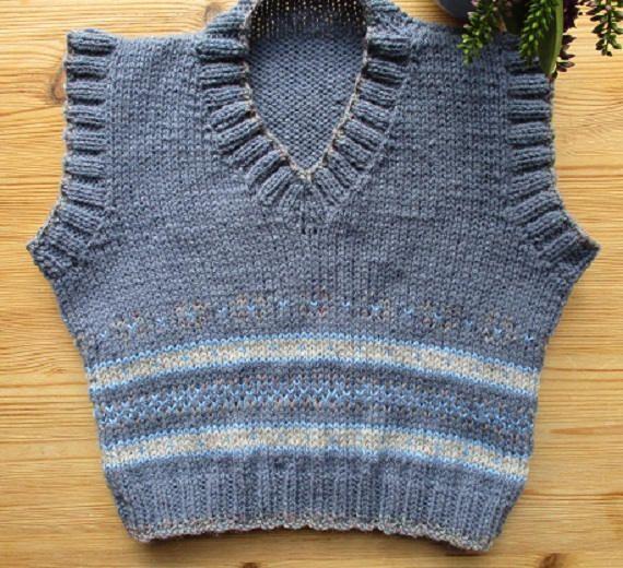 Fairisle vest top boy knit blue fair isle tank top