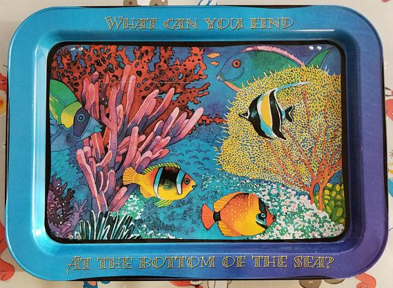 Vintage 90's T.V. Tray Under The Sea Tropical Fish Folding TV trays