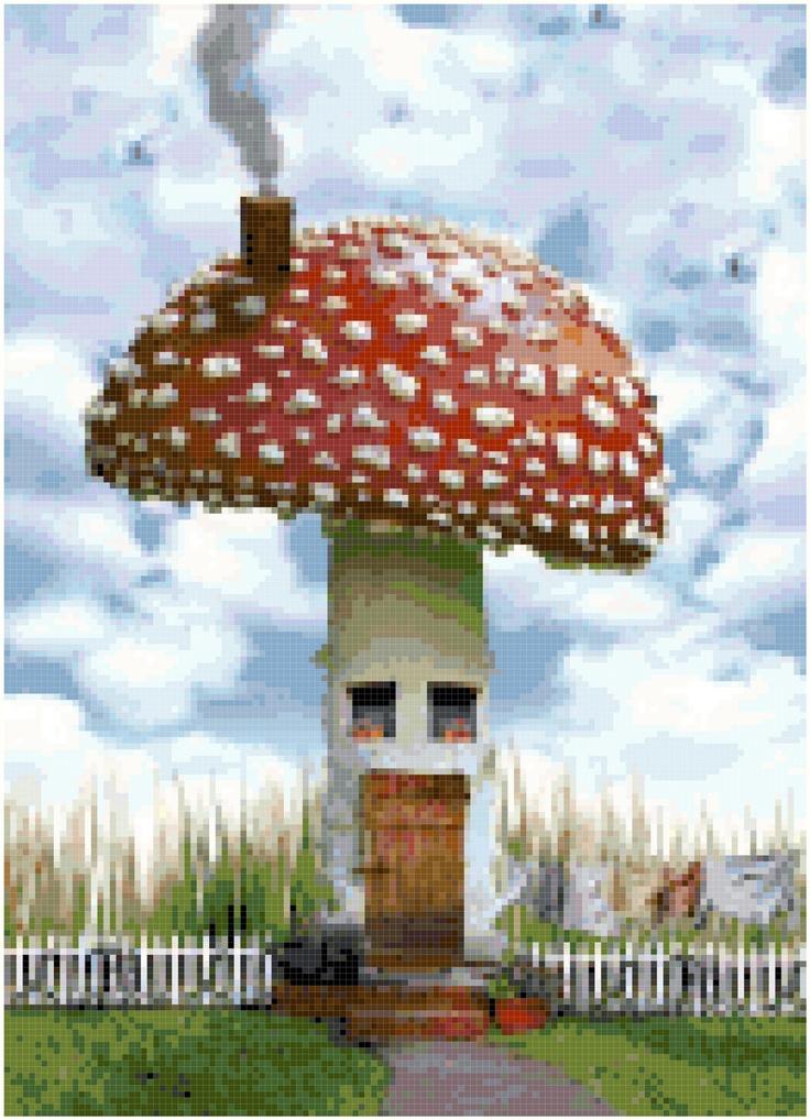 Mushroom House Cross Stitch Pattern. $5.99, via Etsy.