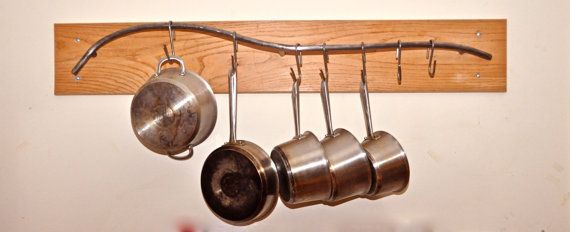 Hand crafted steel pot-rack and hooks on Etsy, $300.00
