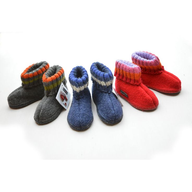 Boiled Wool Slippers (22-33) 1-10+y....red for Mimi