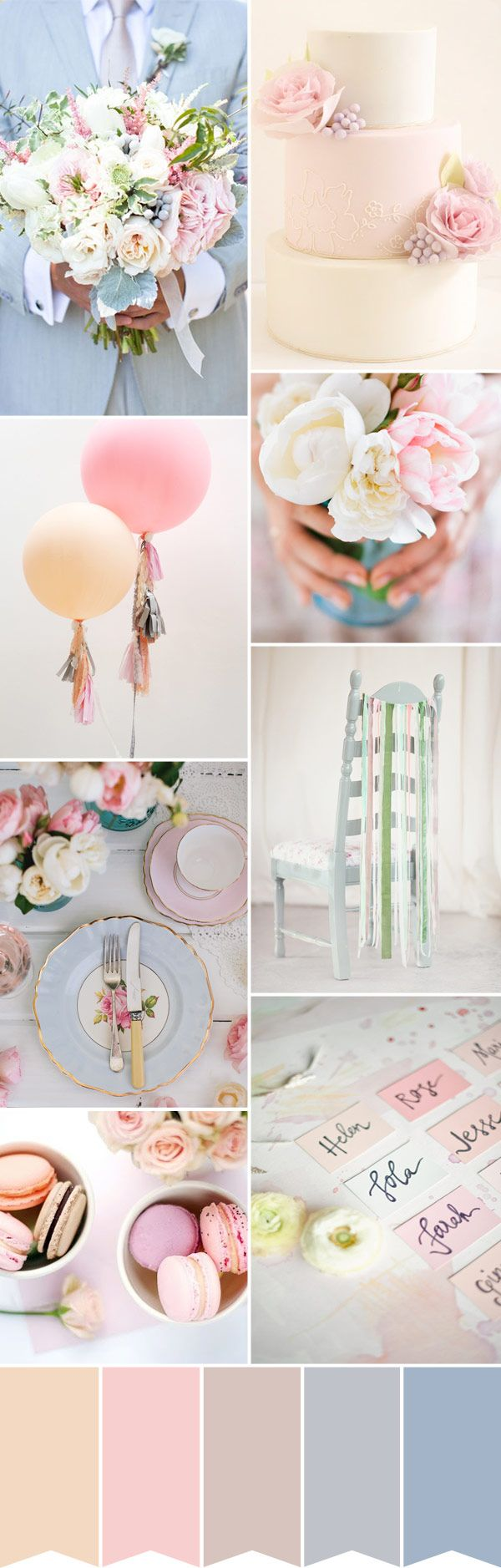 Spring wedding inspiration. We love the chair ribbon idea... add any colour ribbon to match your theme!  Wedding Colour Palette: Pastel Perfection | onefabday.com