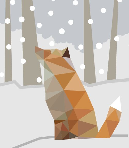 Fox in snow. Vector image. By Anni Leppänen