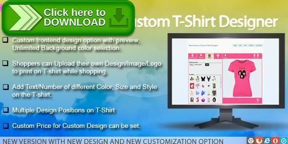 [ThemeForest]Free nulled download WooCommerce Custom T-Shirt Designer from http://zippyfile.download/f.php?id=57764 Tags: ecommerce, custom product builder, custom t shirt design maker, image, logo, make my own t shirt, product print, shirt, tshirt, tshirt printing, woocommerce product builder, woocommerce product designer, woothemes t shirt designer, woothemes t shirt maker