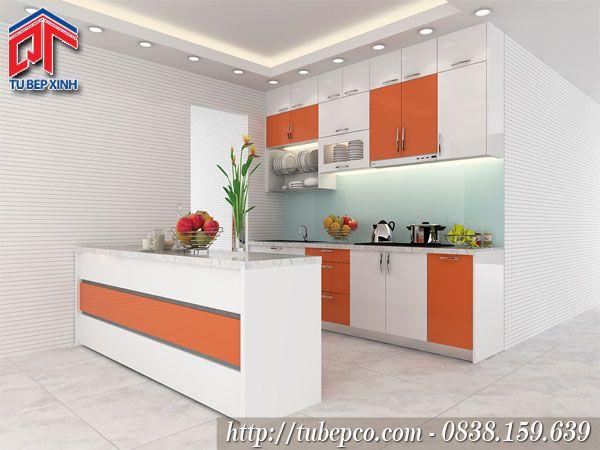 Tủ bếp chung cư gam màu nổi bật, tươi mới