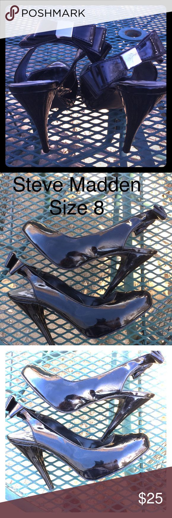 Steve Madden Black High Heels Steve Madden Black Patent Leather Heels with bows. Oh so cute!! Steve Madden Shoes Heels