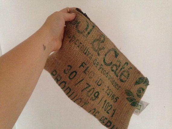 Grano de café reciclado saco cremallera por LaurenMickayla en Etsy