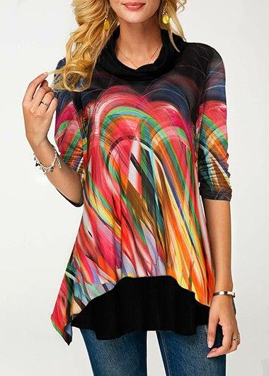 f8fbdd6b57b67 Cowl Neck Long Sleeve Printed Faux Two Piece Blouse