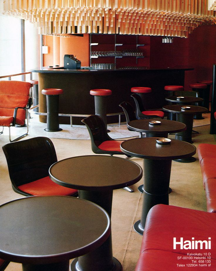 'Saturnus' tables, chairs and bar stools. Designed by Yrjö Kukkapuro, made by Haimi.