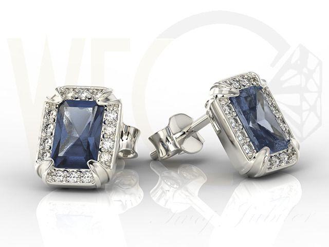 Kolczyki z białego złota z szafirami i diamentami/ Earrings made from white gold with sapphires and diamonds  #earrings #diamonds #gift #jewellery