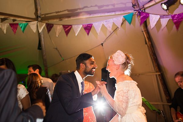 The happy couple - World Inspired Tents tipi wedding reception - Somerset.  Images by http://www.greenphotographic.co.uk/