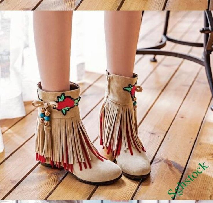 Chinese Style Ethnic Womens Embroidered Tassel Ankle Boots Faux Suede Shoes 2018