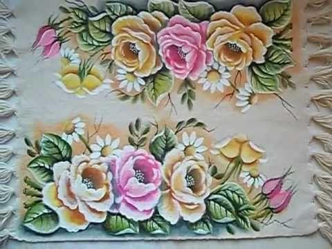"""Pintura em tecido """"Rosas parte 3""""(Final) - YouTube"""