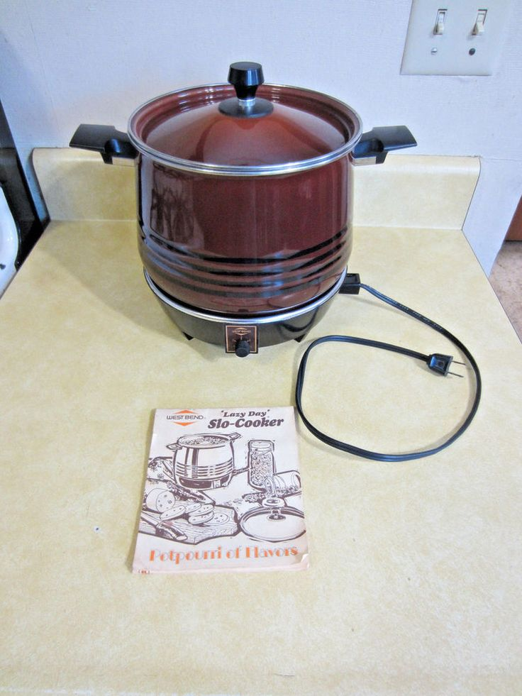 Vintage West Bend Lazy Day 6 quart Slow Cooker Crock Pot W/ Original Manual USA! #WestBend