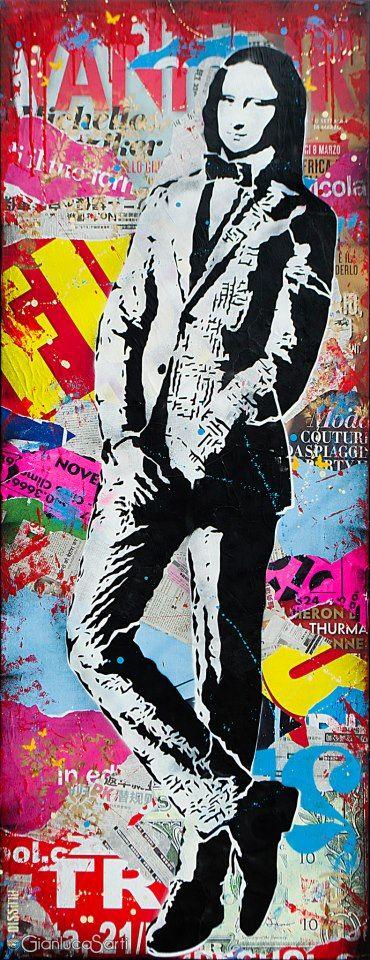 Gioconda Monna Lisa Louvre Alessio-b art graffiti urban collage spray