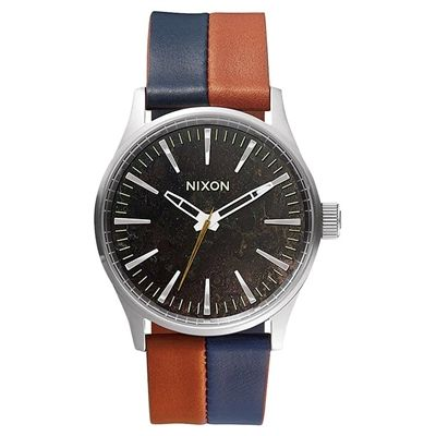New Nixon Men's The Sentry 38 Leather Watch Mens Wristwatch Brown