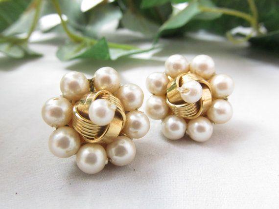 Vintage Faux Pearl Earrings Signed Monet by vintagejewelrycloset