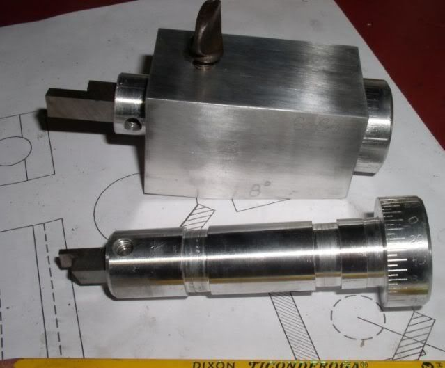 Lathe Tool Bit Grinding Block by gary hart -- Grinding block for 5/16 and 3/8 lathe bits. Bits are secured using a thumb screw and can be rotated by means of a knob with a degree scale. http://www.homemadetools.net/homemade-lathe-tool-bit-grinding-block