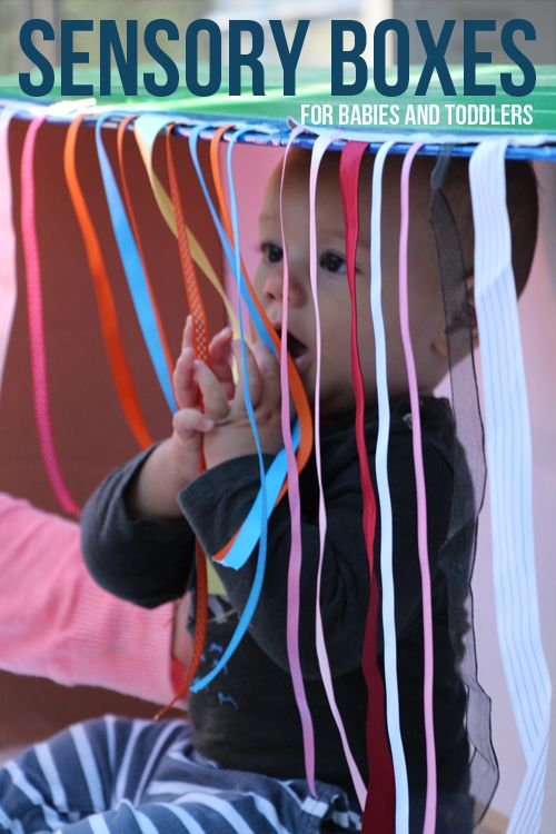 4 Sensory Box Ideas for Babies and Toddlers - What to do with a cardboard Box. The ribbon one pictured is my favorite!