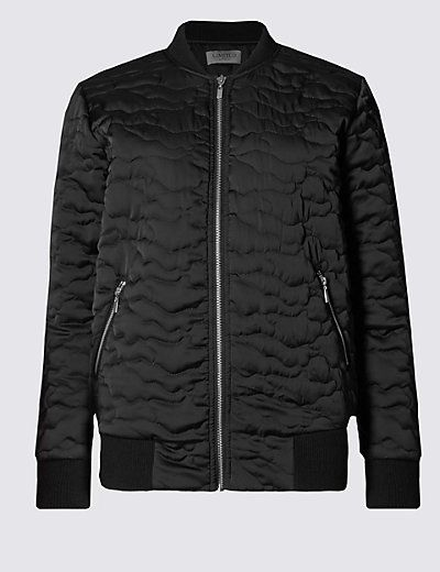Satin Quilted Bomber Jacket | M&S