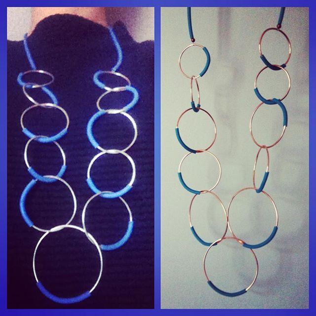 Voglia di cieli limpidi e mare!!! Collane in rame, rame argentato con inserti in pvc. #wadada #jewelry #jewellery #bijoux #gioielli #handmade #madeinitaly #fattoamano #instafashion #instastyles #love #instagood #follow #picoftheday #cute #accessories #rame #collana #catena #cerchio #pvc #necklace #circle #copper #silver #argento
