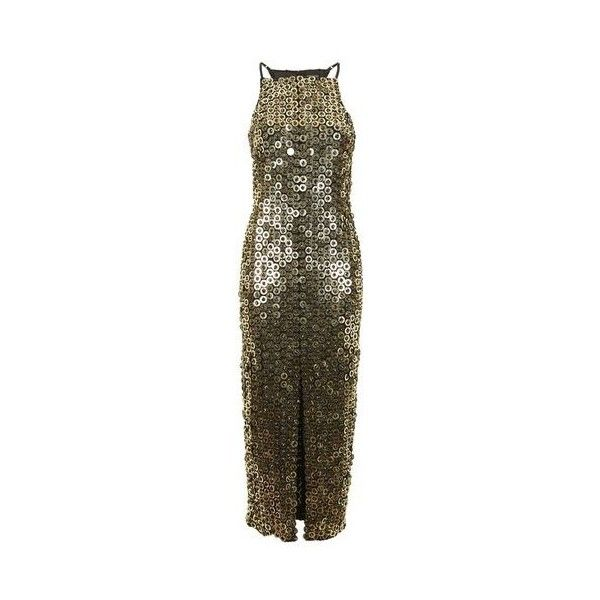 Topshop Disc Sequin Midi Dress (640 BRL) ❤ liked on Polyvore featuring dresses, gold, night out dresses, embellished dress, going out dresses, holiday party dresses and midi dress