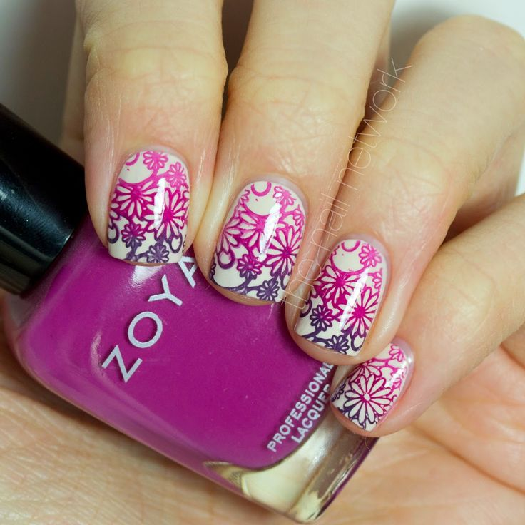 Springtime Floral Gradient Stamping Nail Art. Cheeky Summer Collection plate CH44