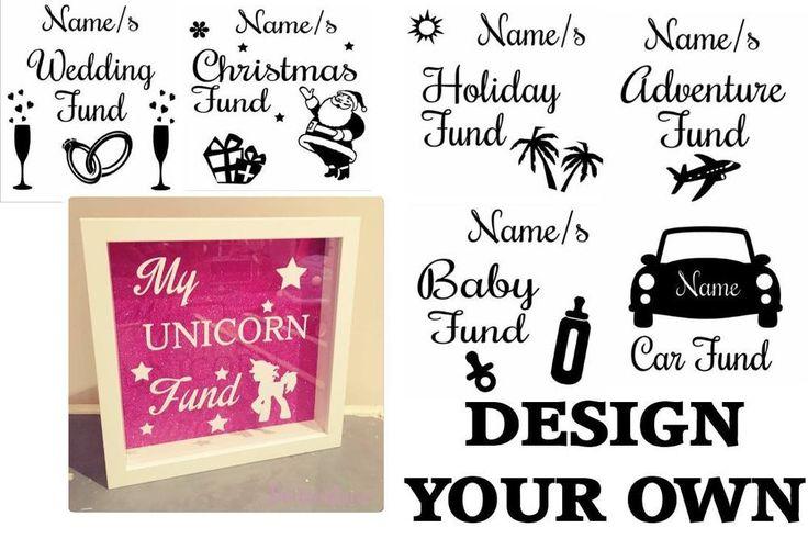 Personalised Money Box Sticker - Vinyl Sticker for Box Frame DIY Money/Fund Box