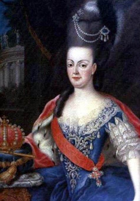 ca. 1780 Queen Maria I of Portugal with regalia