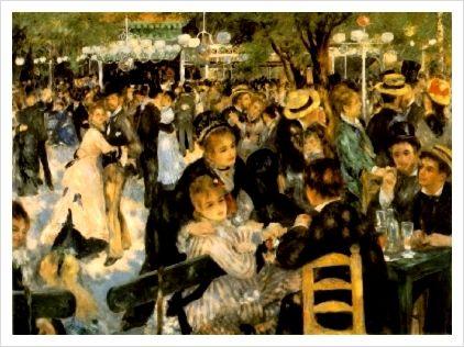 물랭 드 라 갈레트 무도회 - 피에르 오귀스트 르누아르  1876. 오르세 미술관.  몽마르트의 유명한 무도회장은 당시 인근에 있던 풍차(물랭)로 인해 '물랭 드 라 갈레트'라는 이름이 붙여졌습니다. 그림 속 등장인물 중에는 르누아르의 친구들이 대거 섞여있다고 합니다. 그림 전체에서 무도회의 즐거움이 생동감 넘치게 전달되는 것 같습니다.