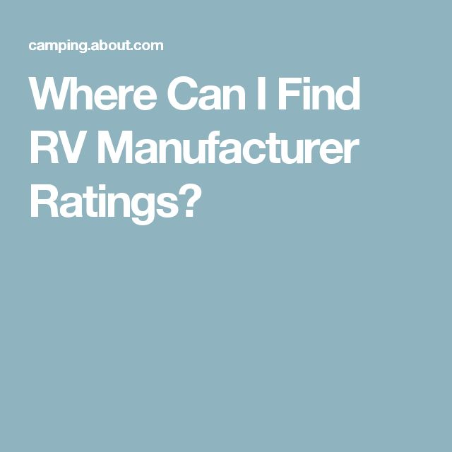 Where Can I Find RV Manufacturer Ratings?