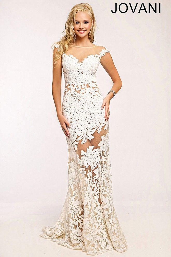 White Lace Sheath Prom Dress 21226