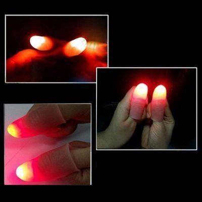 2pcs/lot the Light Wave Lighting Thumb Lamp Magic Toys Free Size Magic Finger Thumb Tricks for Children and Adults-color Random