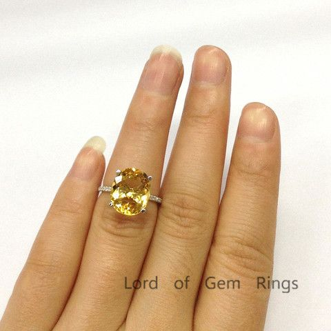 Oval Citrine Engagement Ring Pave Diamond Wedding 14K White Gold 10x12mm - Lord of Gem Rings - 5