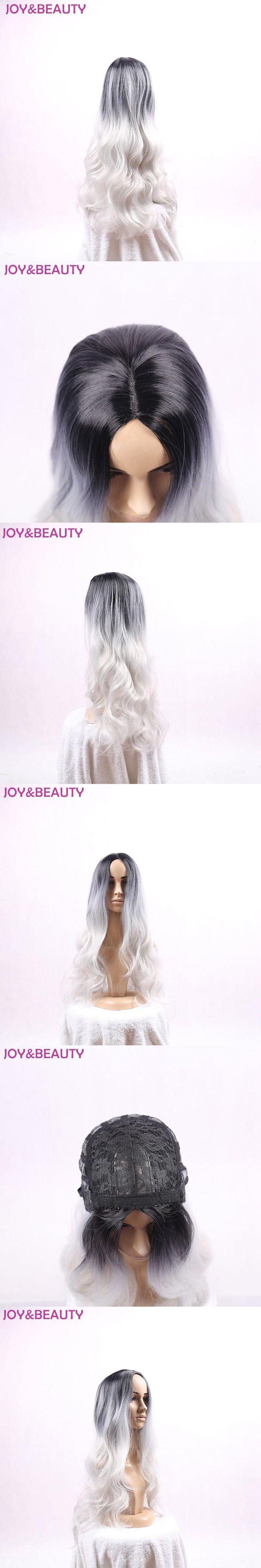 """JOY&BEAUTY Synthetic Hair Heat Resistant Fiber silver Wig Dark Roots 24"""" Women Long Wavy Wig"""