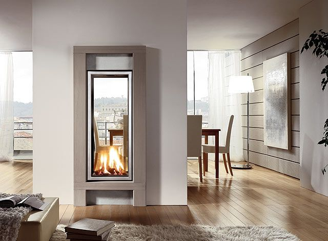 Vertical and 2 way fireplace home cool spaces pinterest for Three way fireplace