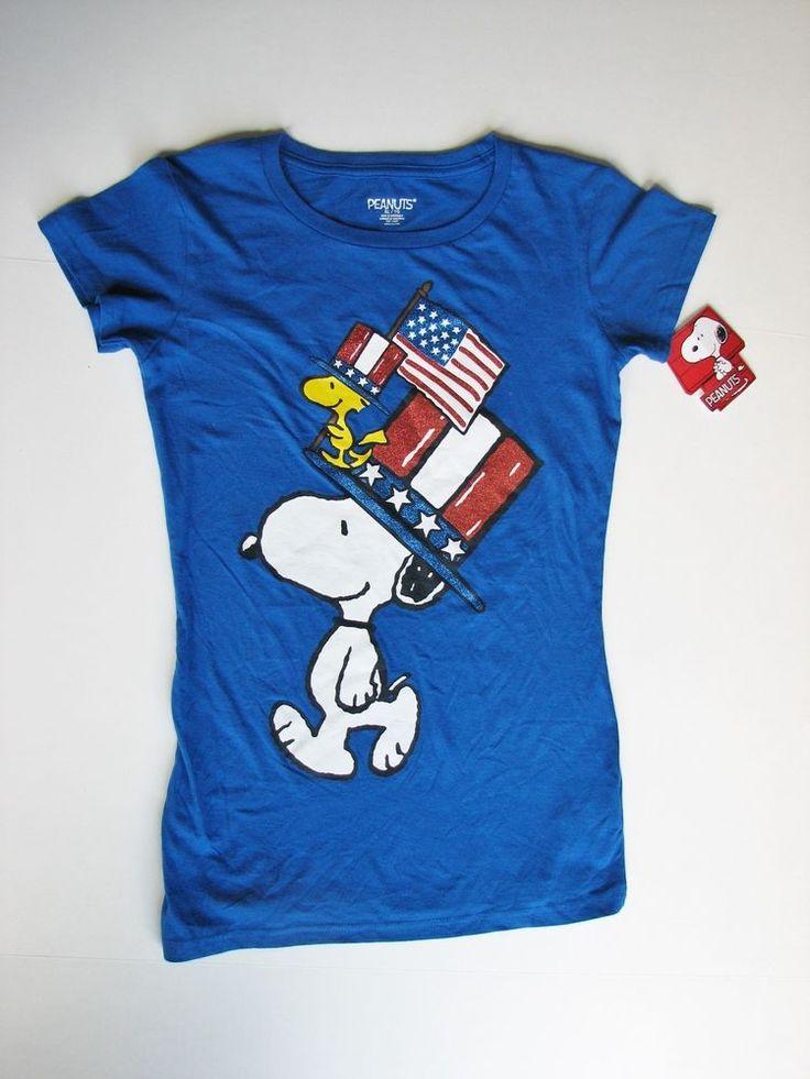 Peanuts Snoopy Woodstock Patriotic Flag Girl XL T Shirt NEW NWT #Peanuts #TShirt #Patriotic