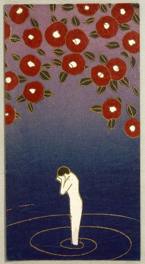 "taishou-kun: ""nobrashfestivity: "" Kaichi Kobayashi - Nymph in Lake and Camelia, C.1930. Woodblock print envelope "" Kobayashi Kaichi 小林かいち (1896-1968) Nymph in Lake and Camelia - c.1930 - Woodblock..."