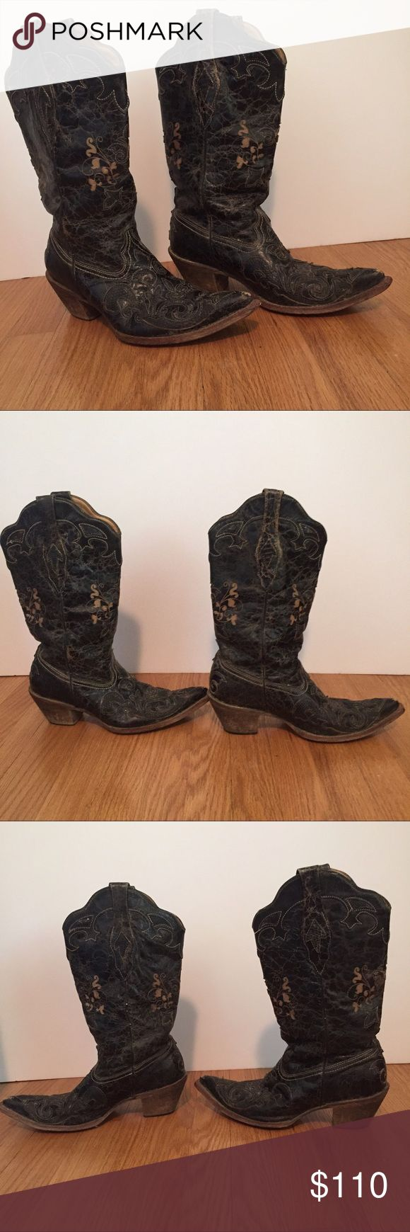 Corral Boots Cowboy Boot Vintage Look Distressed Corral Boots 	•	Size 9.5 M 	•	lizard overlay model C2108 	•	Black leather with tan accents 	•	Intentional distressed look 	•	These boots do show some light wear (scuffs at toes,etc); please enlarge photos to see full condition 	•	Interior and exterior are clean Corral Shoes