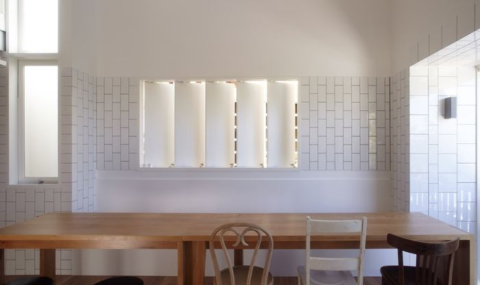 mix of square and subway tiles by Owen and Vokes Architecture : via Remodelista