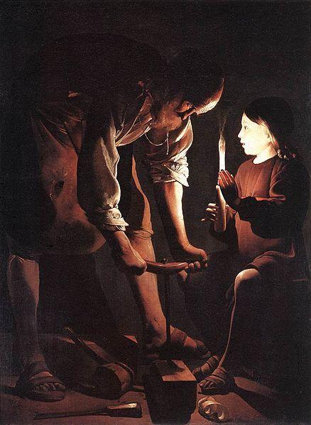 San José carpintero, de Georges de La Tour. Óleo sobre lienzo pintado en la década de 1640. Museo del Louvre, París. Atributos: túnica corta y ceñida o túnica y manto. Báculo o bara florida, y herramientas de carpintero.