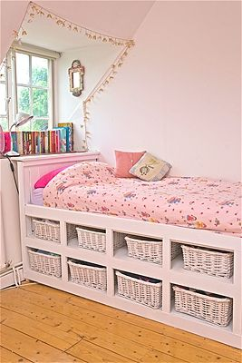 This would work for my kids...but the antique beds I have will not be damaged. The shelving will be constructed to fit under the beds...